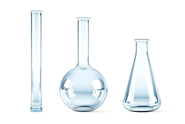 empty chemical flasks stock photo