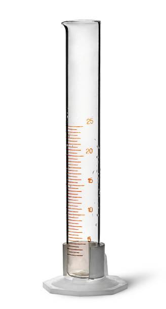 empty chemical measuring cylinder - messzylinder stock-fotos und bilder
