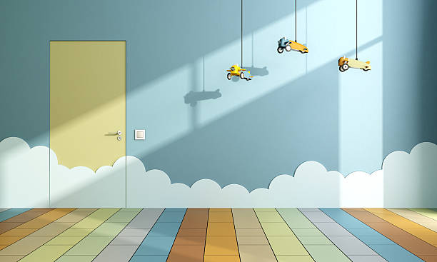 Empty child room with toy airplanes stock photo
