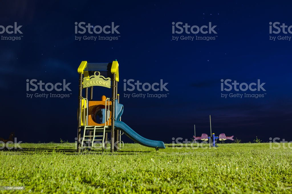 Empty Childrens Playground At Night Stock Photo Download Image Now Istock
