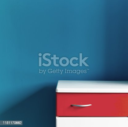 1151171813 istock photo Empty children's white red commode at the turquoise wall in the nursery 1151170662