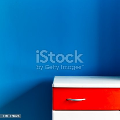 1151171813 istock photo Empty children's white red commode at the turquoise wall in the nursery 1151170689