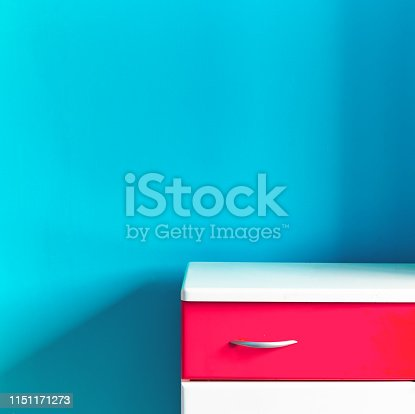 1151171813 istock photo Empty children's white red commode at the turquoise wall in the nursery 1151171273