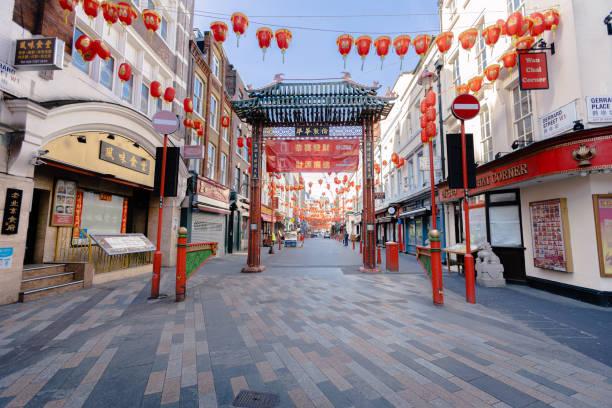 Empty Chinatown, London. During Coronavirus pandemic stock photo