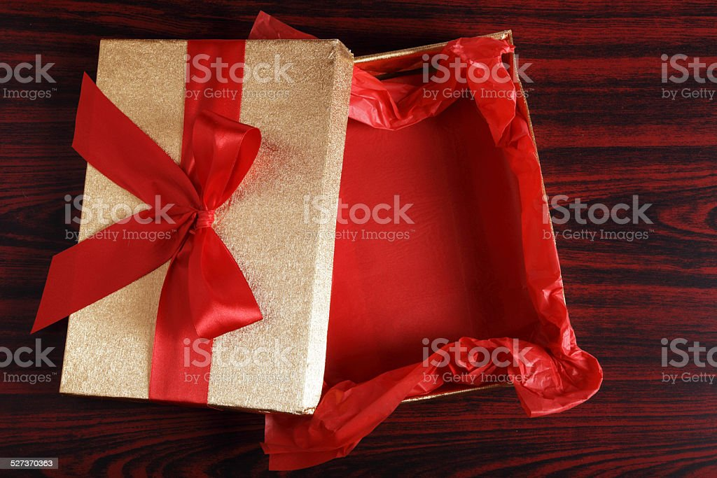 Empty Christmas Gift Box stock photo
