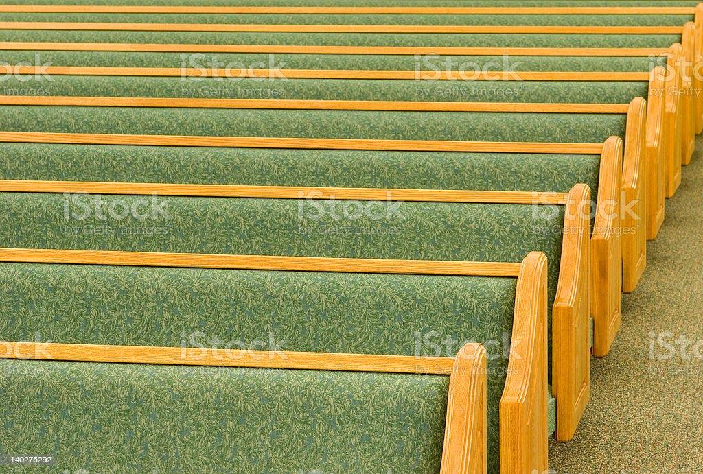 Empty Church Pews stock photo