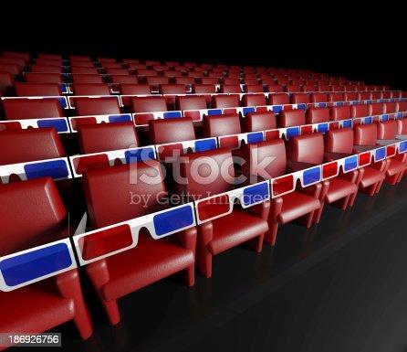 istock Empty cinema hall and 3d glasses 186926756