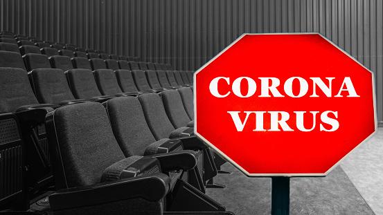 Empty cinema or concert hall due to Coronavirus Covid-19 virus outbreak