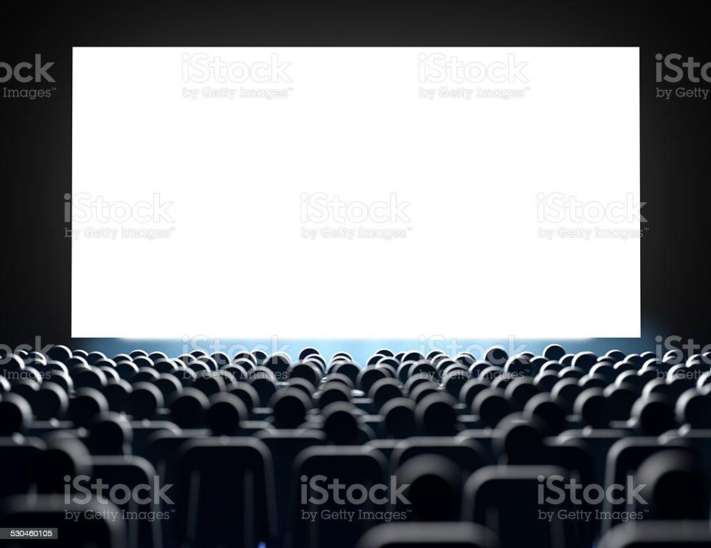 Empty cinema screen with audience stock photo