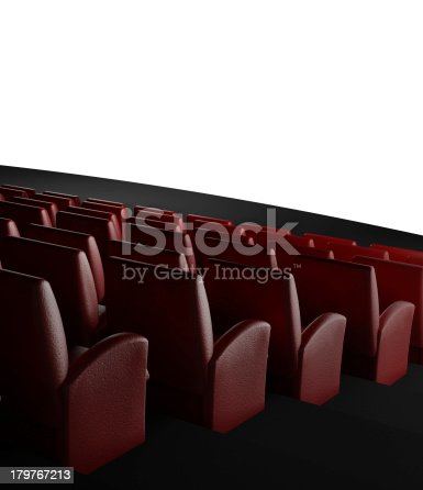 istock Empty cinema screen with auditorium 179767213