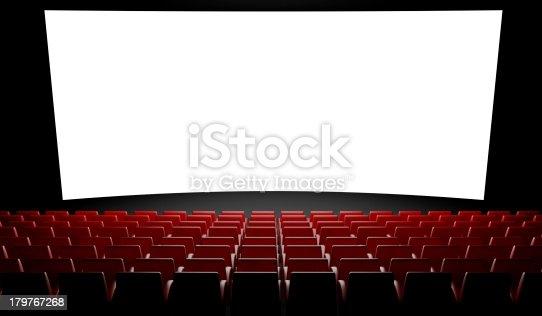 istock Empty cinema screen with auditorium 179767268