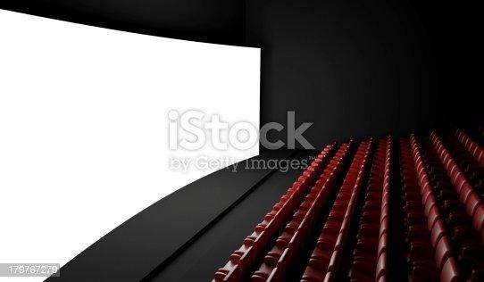 istock Empty cinema screen with auditorium 179767279