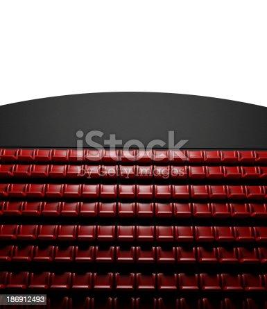 istock Empty cinema screen with auditorium 186912493