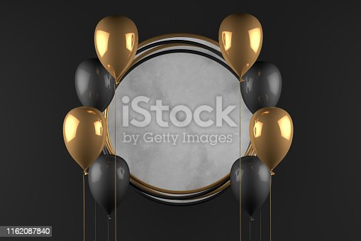 istock 3D Empty Circle Marble Frame with Balloons Black Background, Black Friday Concept 1162087840