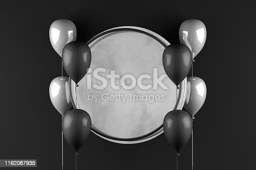 istock 3D Empty Circle Marble Frame with Balloons Black Background, Black Friday Concept 1162087935