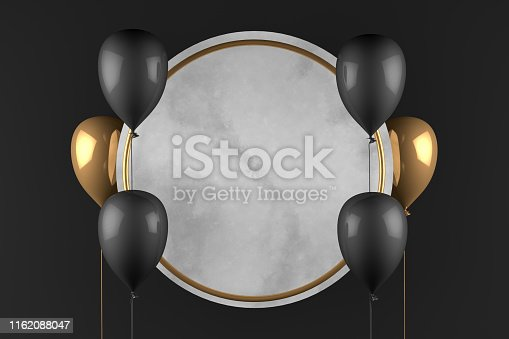 istock 3D Empty Circle Marble Frame with Balloons Black Background, Black Friday Concept 1162088047
