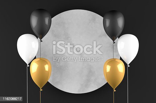 istock 3D Empty Circle Marble Frame with Balloons Black Background, Black Friday Concept 1162088217