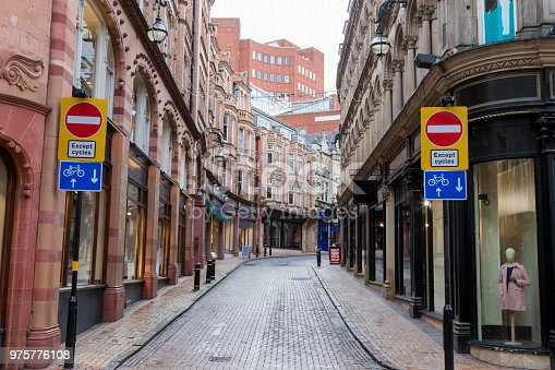 istock Empty city centre street in Birmingham 975776108
