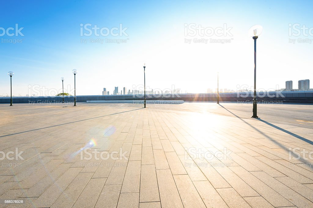 empty city square in harbin with sunbeam stock photo
