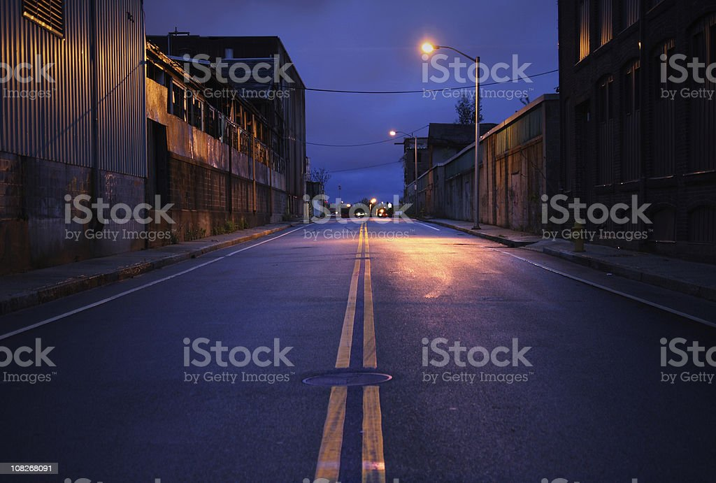 Empty City Street at Dusk royalty-free stock photo