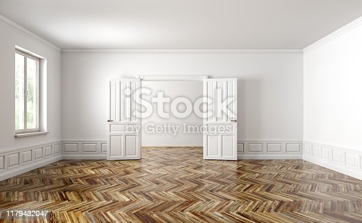istock Empty classic apartment with two rooms, living room interior background 3d rendering 1179432047