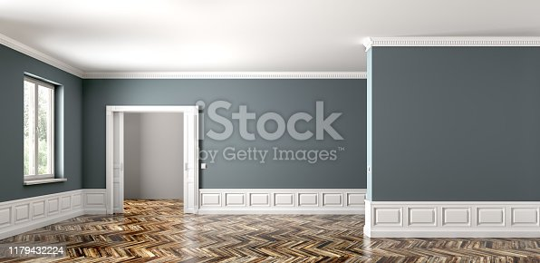 istock Empty classic apartment with two rooms, living room interior background 3d rendering 1179432224