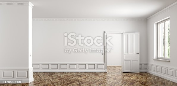 istock Empty classic apartment with two rooms, living room interior background 3d rendering 1179432268