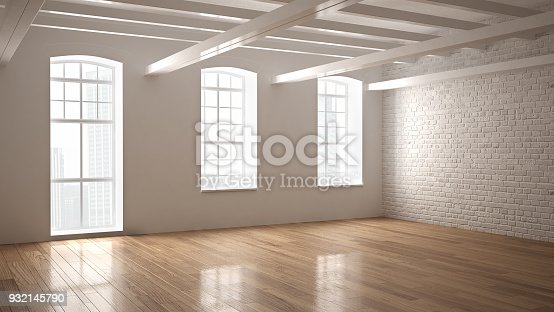 istock Empty classic industrial space, open room with wooden floor and big windows, modern interior design 932145790