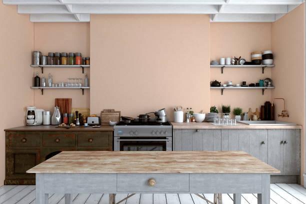 leere klassische küche - kücheneinrichtung nostalgisch stock-fotos und bilder