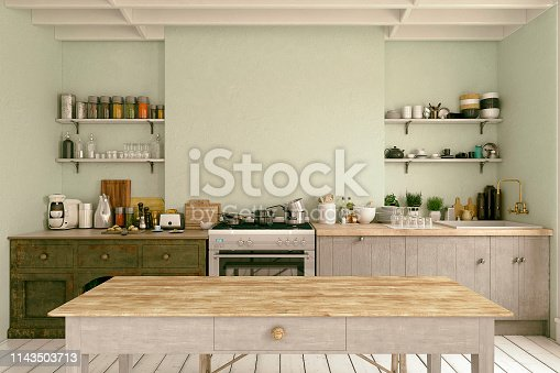 Empty classic kitchen with table, decoration and copy space. Vintage effect applied. 3d rendered image.