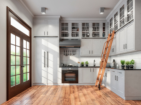 Empty classic kitchen with high cabinets, ladder and decoration with classic windows on the left. Vintage effect applied. 3d rendered image.
