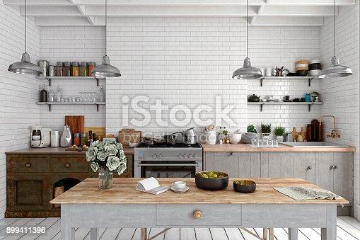 istock Empty classic kitchen 899411396
