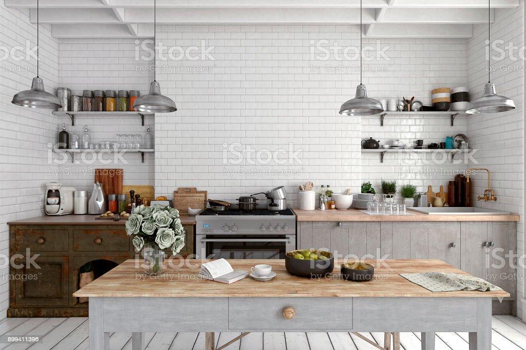 Empty classic kitchen stock photo