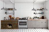 Empty classic kitchen with table, decoration and copy space. 3d rendered image.