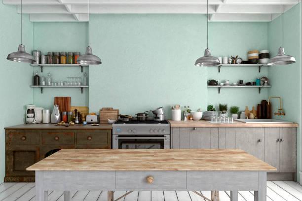 leere klassische küche - hellblaues zimmer stock-fotos und bilder