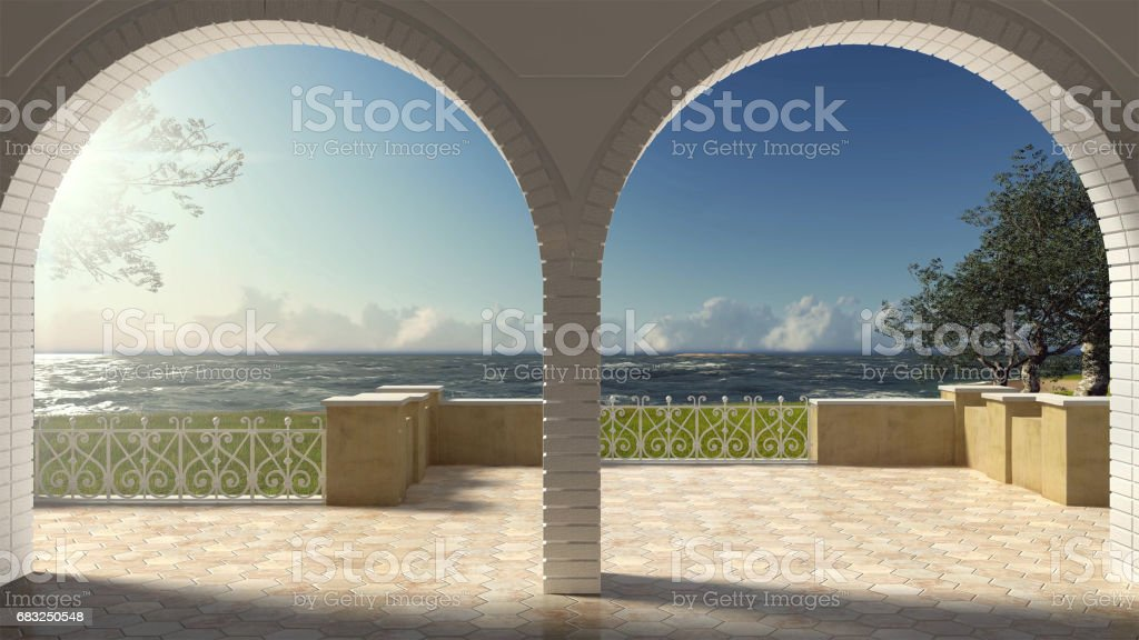Vacío Clásico Terraza Con Barandilla De Hierro Forjado Y