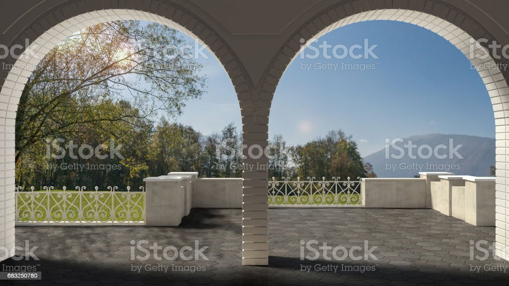 Empty classic terrace with forged iron railing and sandstone arch, garden meadow panorama 免版稅 stock photo