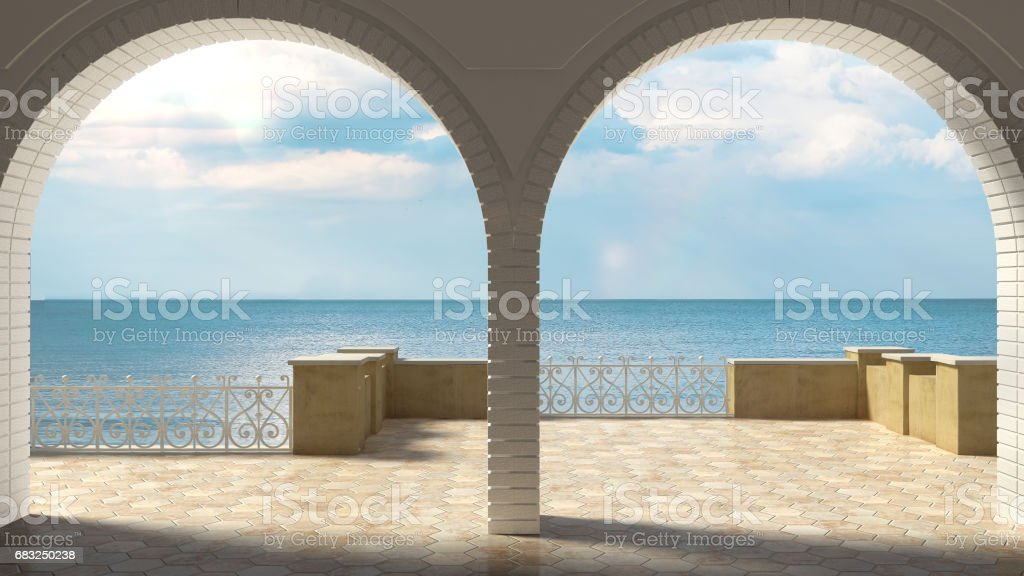 Empty classic terrace with forged iron railing and sandstone arch, sea panorama stock photo