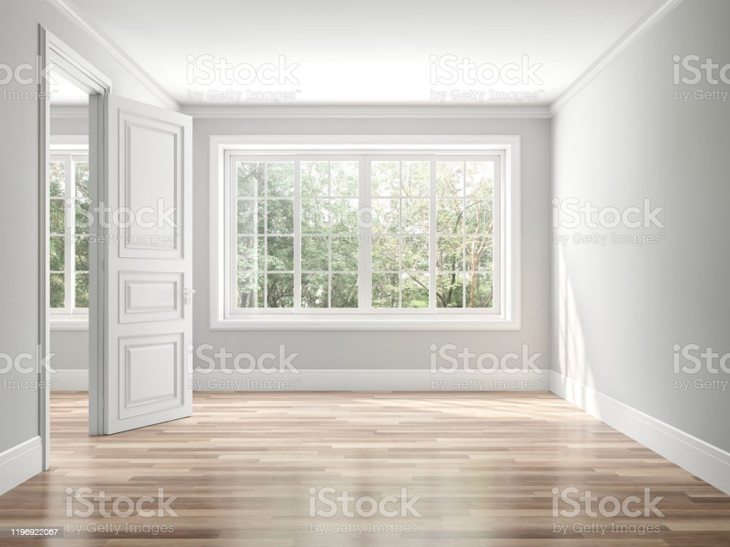 Empty classical style room 3d render Empty classical style room 3d render,The rooms have wooden floors and gray walls ,decorate with white moulding,there white window looking out to the balcony and nature view. Accessibility Stock Photo