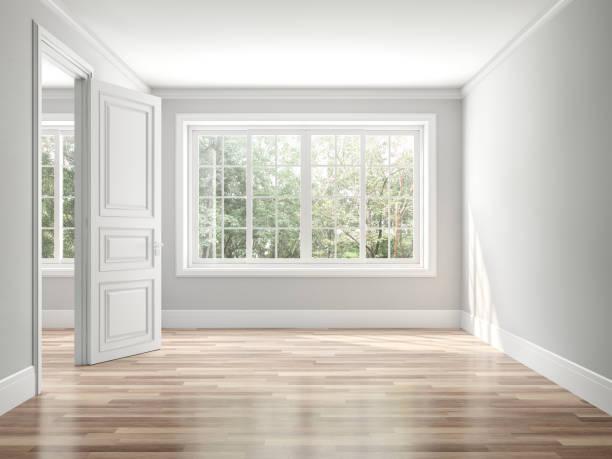 pusty klasyczny styl pokój 3d render - okno zdjęcia i obrazy z banku zdjęć