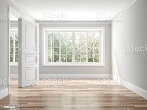 Empty Classical Style Room 3d Render Stock Photo - Download Image Now