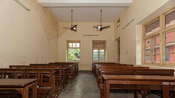 Empty Classroom at an Indian University stock photo