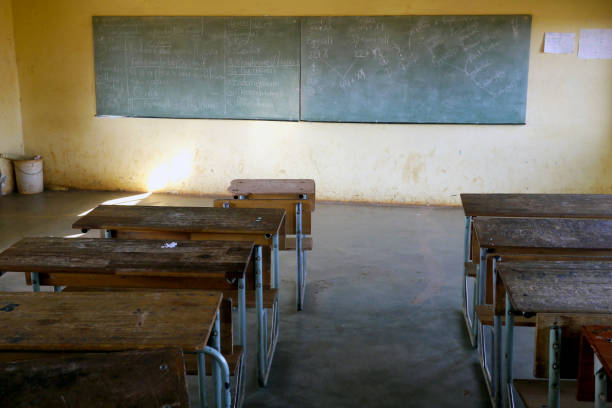 Empty classroom in poor school stock photo