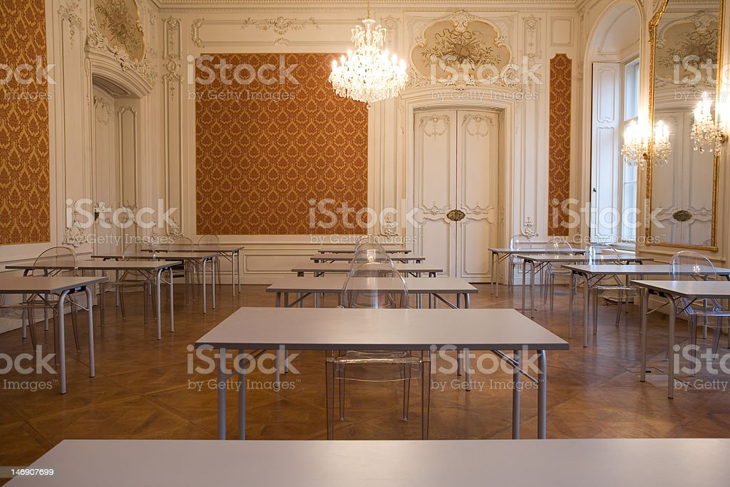 empty classroom in the castle with glass seats royalty-free stock photo