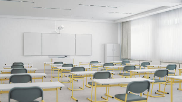 Empty Classroom Organized For Social Distancing stock photo
