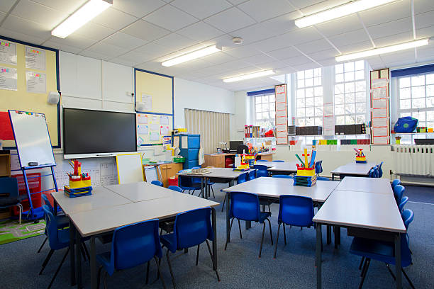 empty classroom - primary school stock pictures, royalty-free photos & images