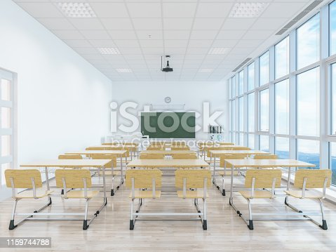 881192038 istock photo Empty classroom with desk and chairs 1159744788