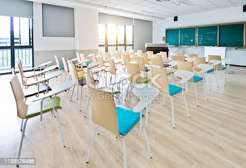 istock Empty classroom with desks and chairs for music lessons 1133576488