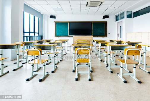 881192038 istock photo Empty classroom with desks and chairs 1133573238