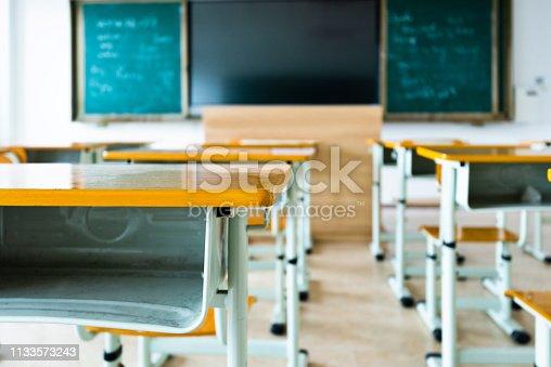 881192038 istock photo Empty classroom with desks and chairs 1133573243
